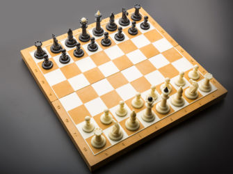Chess figures on the board ready to fight